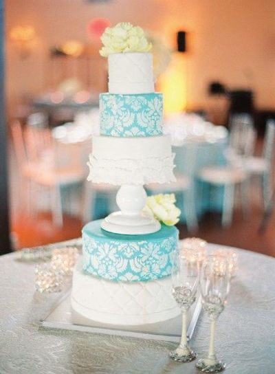 Tiffany Blue and White Damask Wedding Cake / wedding cakes - Juxtapost
