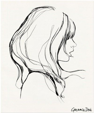 Art Girl Drawing Girl With Bangs by Garance