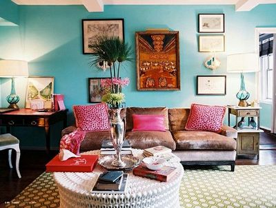 oly studio pippa coffee table and turquoise walls For the home