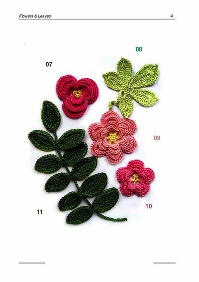 Crochet flowers and leaves diagram knits and kits juxtapost crochet flowers and leaves diagram ccuart Image collections