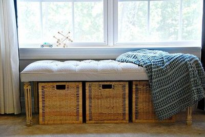 Storage baskets under a bench for a makeshift window seat. / For .