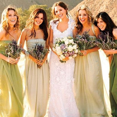 Bridesmaid Dresses All Diffe Shades Of Green