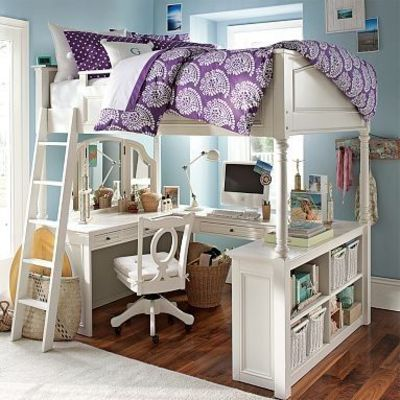 Spacesaver Bed perfect college apartment space-saver: double bed + vanity +