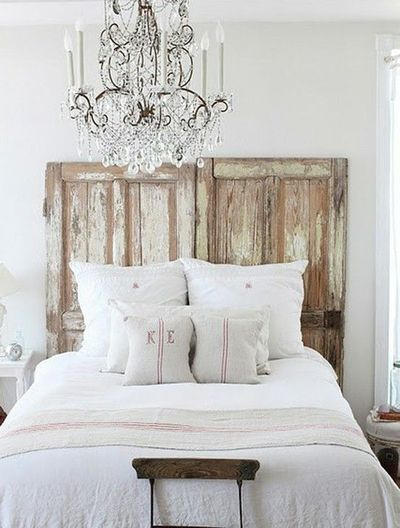 Wooden headboard made from old doors for the bedroom - Headboard made from old door ...