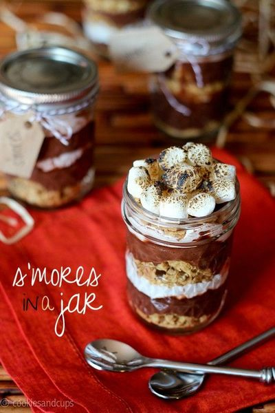 S'mores in a jar, and links to lots of other s'mores treats