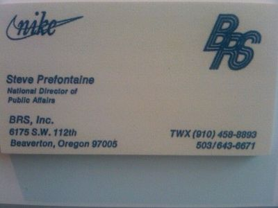 Steve prefontaine39s business card nike sporty juxtapost for Nike business card