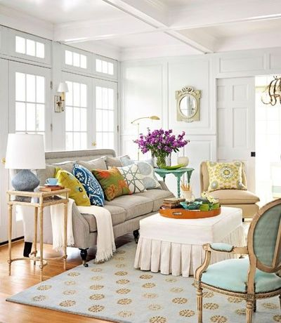 Living Room With Teal Accents