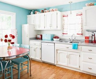 Turquoise kitchen walls like the chair color too - Turquoise and orange kitchen ...
