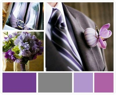Dark Grey and Purple Wedding Colors