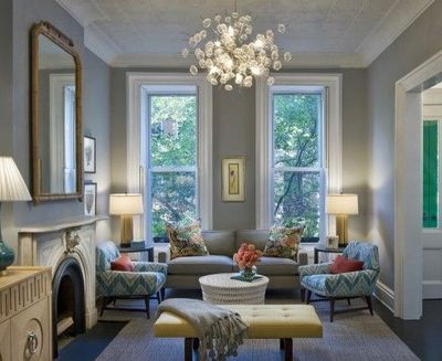 gorgeous blue & gray chic living room design with gray b... / For ...