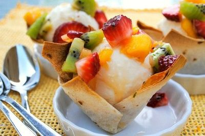 Coconut Ice cream in edible bowls with Tropical Salsa