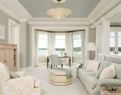 grey, light blue, tan sitting room / for the home - juxtapost
