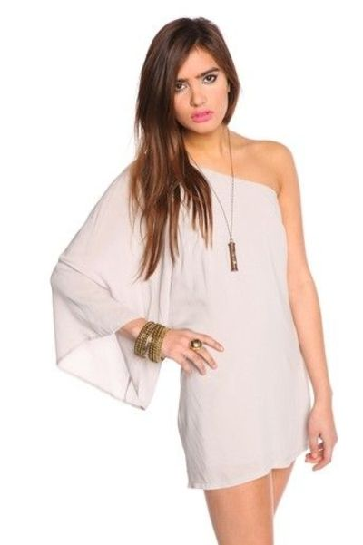 Flowy Dove Gray One Shoulder Dress Womens Apparel