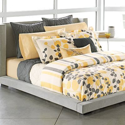 Gray yellow white bedding for the bedroom juxtapost - White yellow and grey bedroom ...