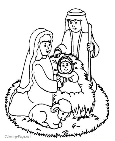 coloring pages of baby jesus - coloring page of mary joseph and baby jesus preschool