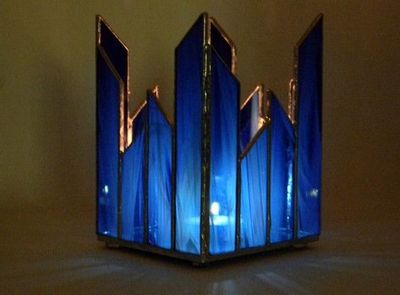 Stained glass candle holder in cobalt blue.