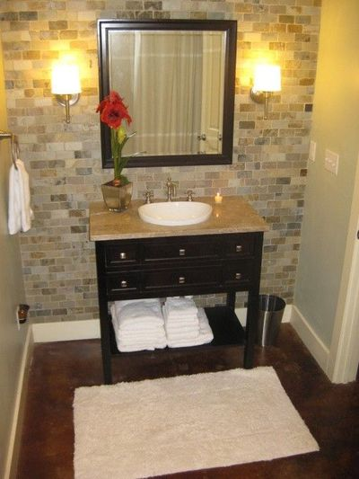 2x1 Tumbled Brick Tile From Lowes Vanity From Sam S