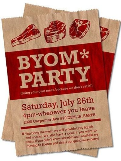 """bring your own meat"" BBQ party invitation / graphic ..."
