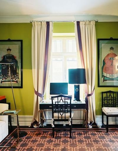 Chartreuse, Floor To Ceiling Curtains