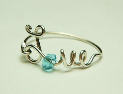 love wire ring sterling silver baby blue faceted by keoops8, $12.00