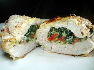 Stuffed Chicken with Gouda, Sun dried tomatoes and Spinach.
