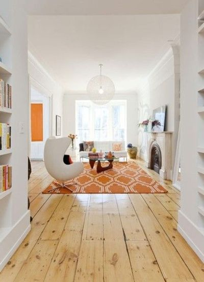 Modern Living Room White Walls Egg Chair Orange Accents For The Home Juxtapost