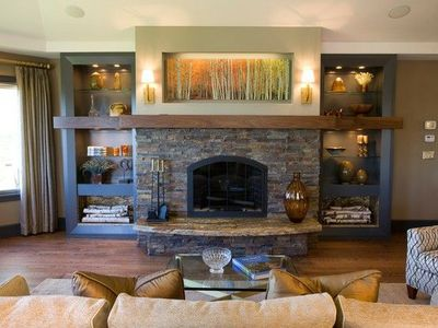 Stone Fireplace With Floating Shelf For The Home Juxtapost