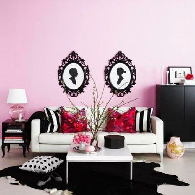 all ikea - love the light couch, black and white/red accents / For ...