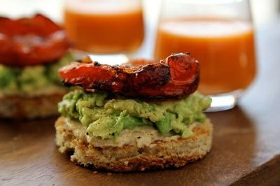 YES AND YES..  HUMMUS AND AVOCADO TOASTS WITH ROASTED TOMATOES