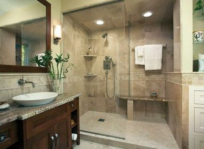 Bathroom Shower Stall With An Open Airy Shower And Drying Area Towels And Shampoo