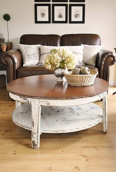 Coffee Table With Leather Sofa Cottage Style