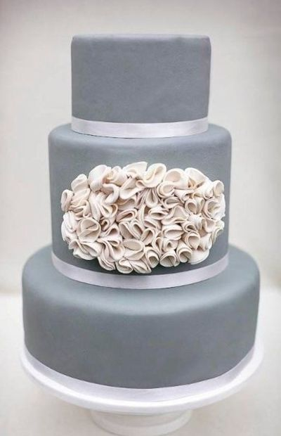 Silver Grey And Ivory Wedding Cake By Erica OBrien Cake Desi Wedding Cakes