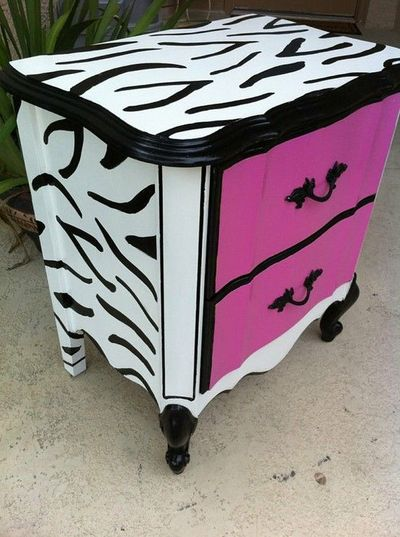 Hot Pink and Black and White zebra print nightstand / kids rooms ...