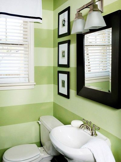 Horizontal stripes give this contemporary powder room for Green color bathroom design