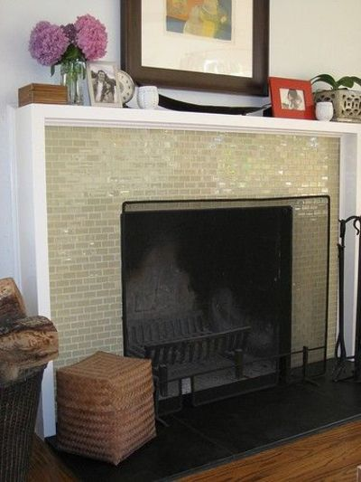 Glass Mosaic Tile Fireplace Surround Black Stone Slab For Hearth
