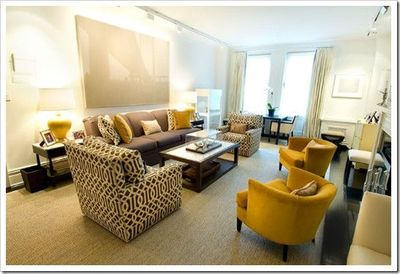 Brown Sofa Yellow Accents White Walls For The Home