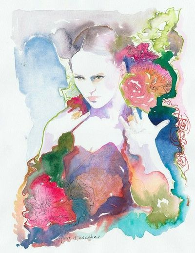 Watercolor Fashion Illustration - Esprit d'escalier . silverridgestudio