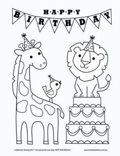Free Birthday Card Coloring Pages