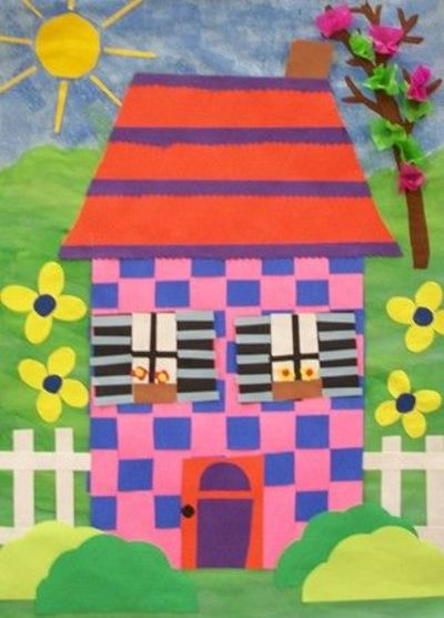 1st grade houses from their paper weavings they added