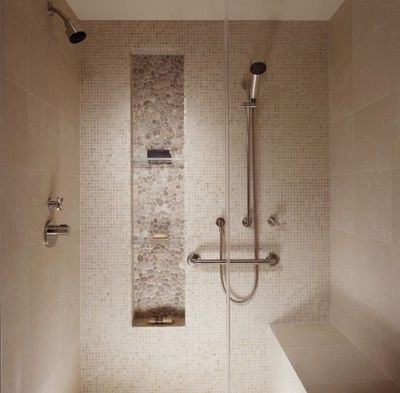 Love The Pebble Tile And Cubby In Shower Bath Ideas