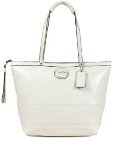 Coach Patent Leather Stitched Signature Stripe Tote Handbag 15142 Ivory White