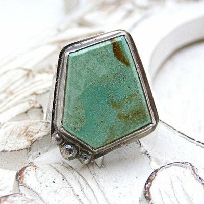 Sterling Silver Turquoise Ring Size 7 by HouseThatCrowBuilt, $95.00