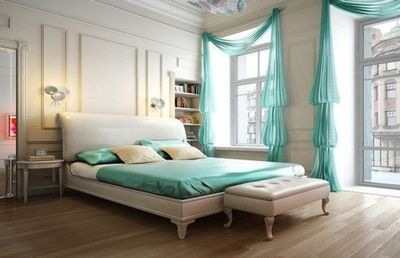 Luxurious Bedroom White With Teal Accents For The