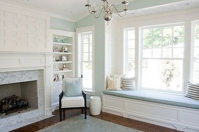 Soft Teal Walls Fireplace Tile Painted Trim Dark Floors