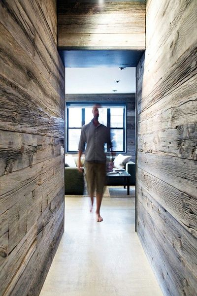 wood covered walls