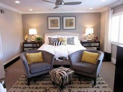 Gray white and yellow bedroom hints of dark wood as well - White yellow and grey bedroom ...