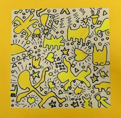 Keith Haring, colored with highlighter marker