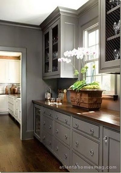 Gray Cabinets And Butcher Block Countertops For My
