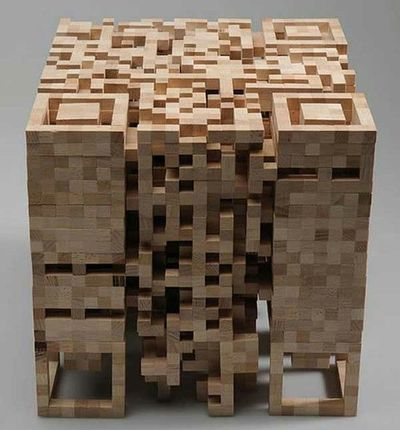 QR Code Sculpture Made Of Blocks Of Wood