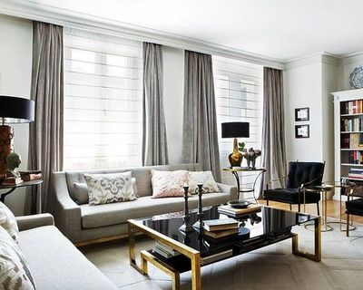White walls grey curtains for the home juxtapost - Black and silver lounge design ...